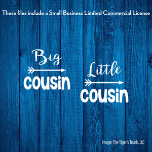 Big and Little Cousin cutting file packages (SVG, DXF, JPG, GSP, PDF, PNG)