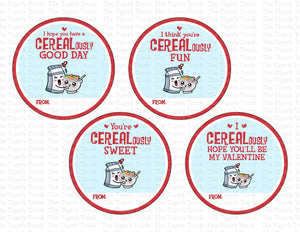 CEREALously Cute Printable Cereal Valentine Circle Tags