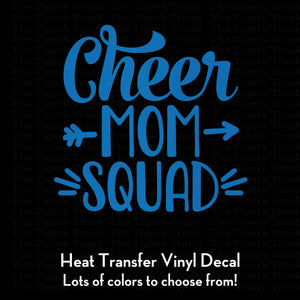Cheer Mom Squad heat transfer decal