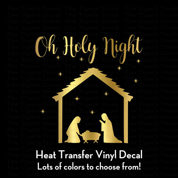 Oh Holy Night Christmas Decal (DIY Heat Transfer Vinyl)