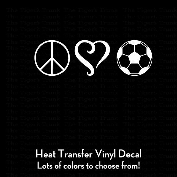 Peace Love and Soccer Decal (DIY Heat Transfer Vinyl)