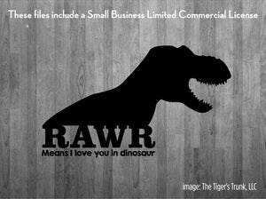Rawr Means I Love You in Dinosaur cutting file package (SVG, DXF, JPG, GSP, PDF, PNG)
