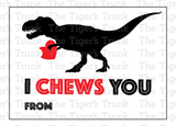 I Chews You Dinosaur Valentine Cards (instant download)