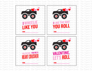 Monster Truck Printable Valentine Tags, Black