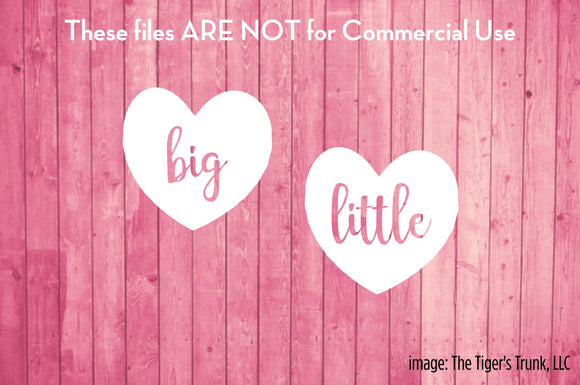 Big / Little Heart cutting file packages (SVG, DXF, JPG, GSP, PDF, PNG)