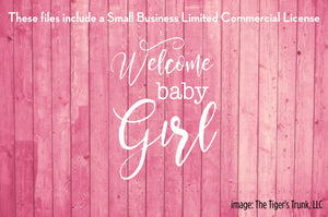 Welcome Baby Girl cutting file package (SVG, DXF, JPG, GSP, PDF, PNG)