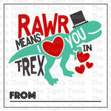 Rawr Means I Love You Dinosaur Printable Valentine Tags