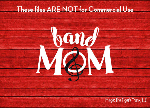 Band Mom cutting file package (SVG, DXF, JPG, GSP, PDF, PNG)