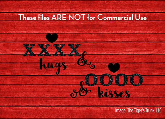 Hugs and Kisses cutting file package (SVG, DXF, JPG, GSP, PDF, PNG)
