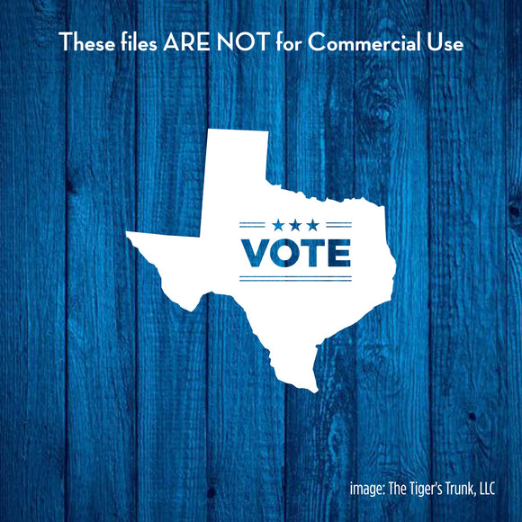 Vote Texas cutting file package (SVG, DXF, JPG, GSP, PDF, PNG)