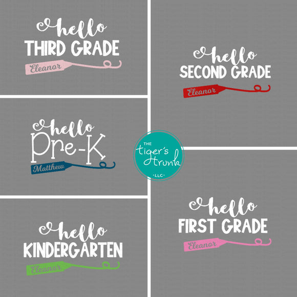 Hello! Back to School Decal (Heat Transfer Vinyl)