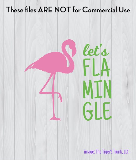 Let's Flamingle cutting file package (SVG, DXF, JPG, GSP, PDF, PNG)