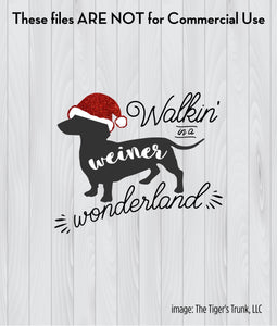 Walking in a Weiner Wonderland cutting file package (SVG, DXF, JPG, GSP, PDF, PNG)
