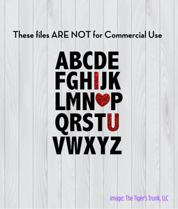 Alphabet I Love You cutting file package (SVG, DXF, JPG, GSP, PDF, PNG)