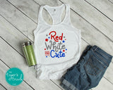 Red White and Cute Patriotic 4th of July racerback tank top