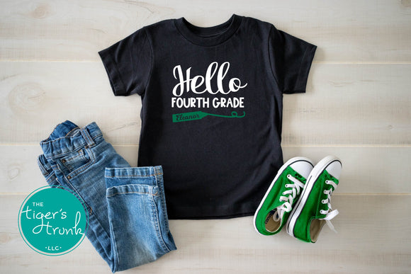 Leeds Personalized Hello Fourth Grade tee
