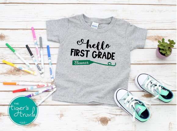 Leeds Personalized Hello First Grade tee