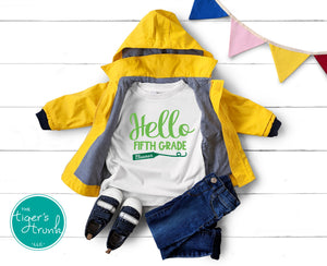 Leeds Personalized Hello Fifth Grade tee