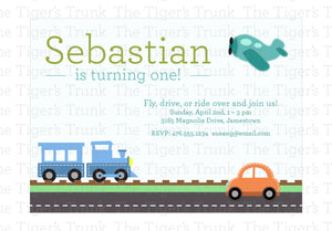 Transportation Birthday | Planes Trains and Automobiles Travel Printable Birthday Party Invitation