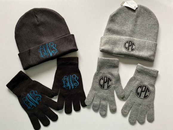 Personalized Hat, Personalized Gloves, Monogrammed Hat, Monogram Gloves, Gift for Her, Monogrammed Gloves and Beanies