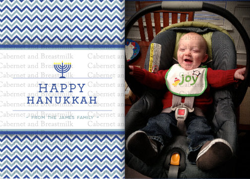 Happy Hanukkah Card (Chevron)