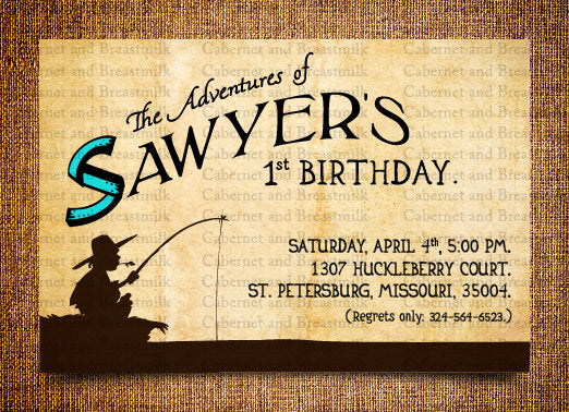 Tom Sawyer Invitations Children's Birthday Party Digital Printable Invitations