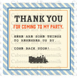 Train Birthday Party Digital Printable Invitations, Thank You Cards, & Favor Tags