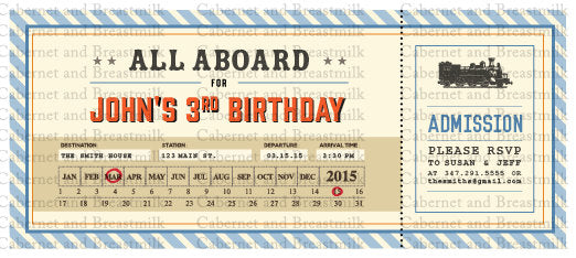 Train Birthday Party Digital Printable Birthday Party Invitation