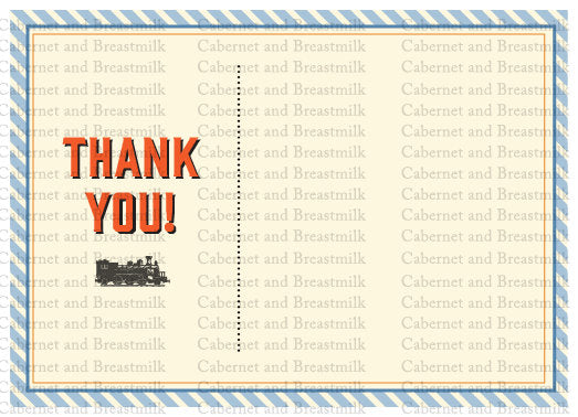 Train Birthday Party Digital Printable Invitations & Thank You Cards
