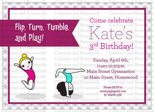 Gymnastics Birthday Party Digital Printable Invitation