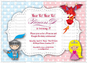 Princesses and Knights | Boy Girl Twins | Birthday Party Digital Printable Invitation