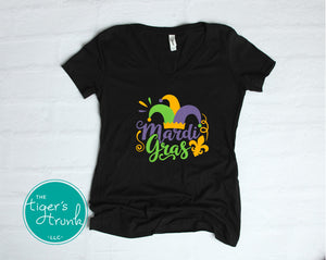 Mardi Gras v-neck shirt