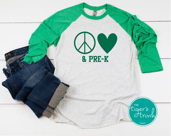 Leeds Peace and Love Teacher raglan shirt