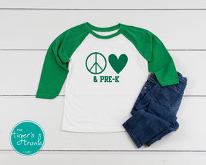 Leeds Peace and Love Student raglan shirt