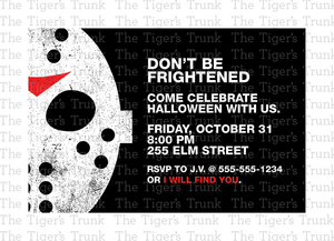 Don't Be Frightened - Halloween Party Invitation (digital file)