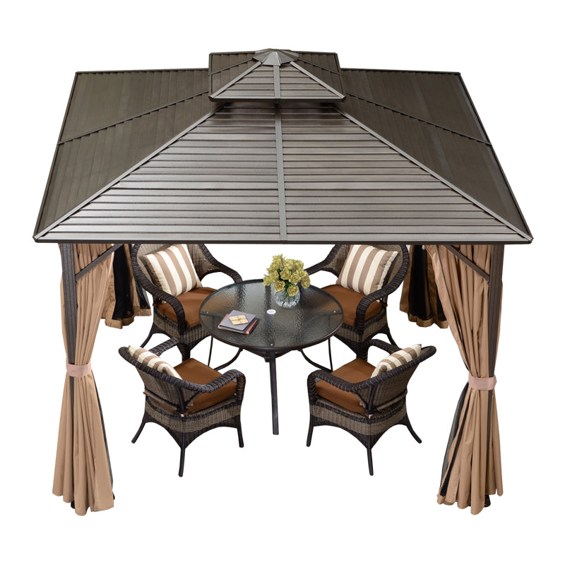 10' X 10' Double Roof Hardtop Aluminum Permanent Gazebo With Mosquito Net And Privacy Curtain