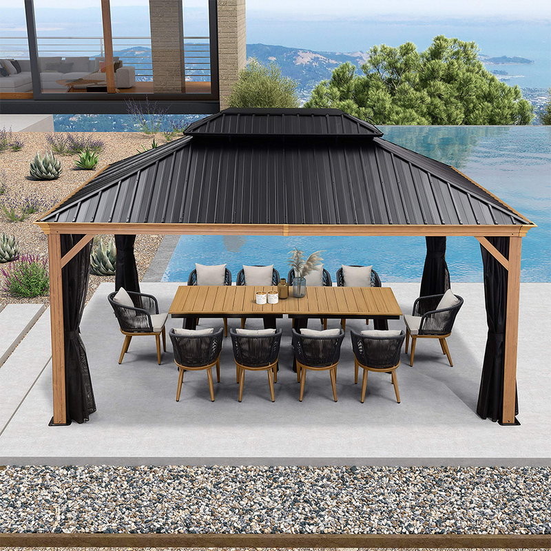 10' X 12' , 12' X 16' , 12' X 20' Outdoor Hardtop Gazebo, Galvanized Steel Double Roof Permanent Canopy Teak Finish Coated Aluminum Frame with Netting