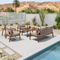 5 Piece Outdoor Furniture Set, Patio Aluminum Conversation Set and Modern Sofa Chair Set, Cushion and Pillow included