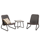 3 Pieces Patio Bistro Set with Weather Resistant Steel Frame Conversation Set