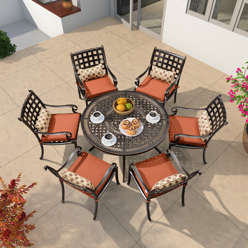 Outdoor Cast Aluminum Dining Set with Cushion and Sunbrella Pillow , Brick Red &  Navy Blue