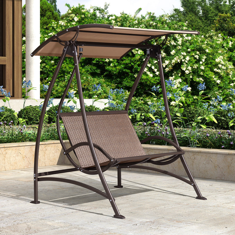 2-Seat Porch swing chair for outside Outdoor Swing with Canopy