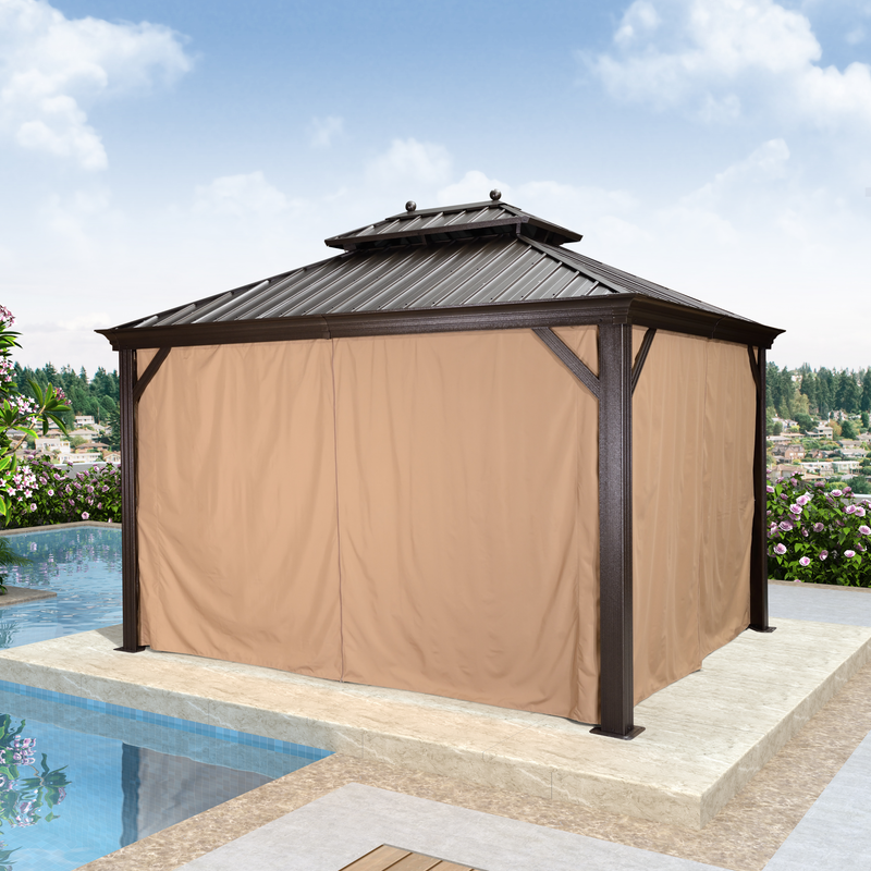 10' X 12' Double Roof Hardtop Aluminum Permanent Gazebo With Mosquito Net And Privacy Curtain