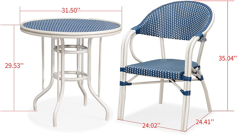 5 Piece Patio Dining Table Sets: Poly & Bark · Aluminum Alloy · Arm Chairs with Table, 2 Colors