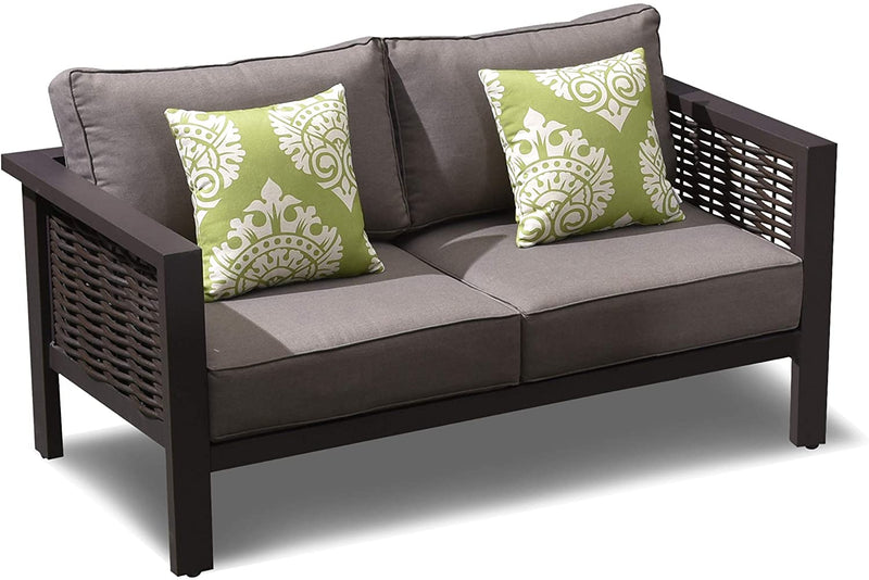 Outdoor Loveseat, Aluminum Frame All-Weather Wicker with Deep Seating Sofa