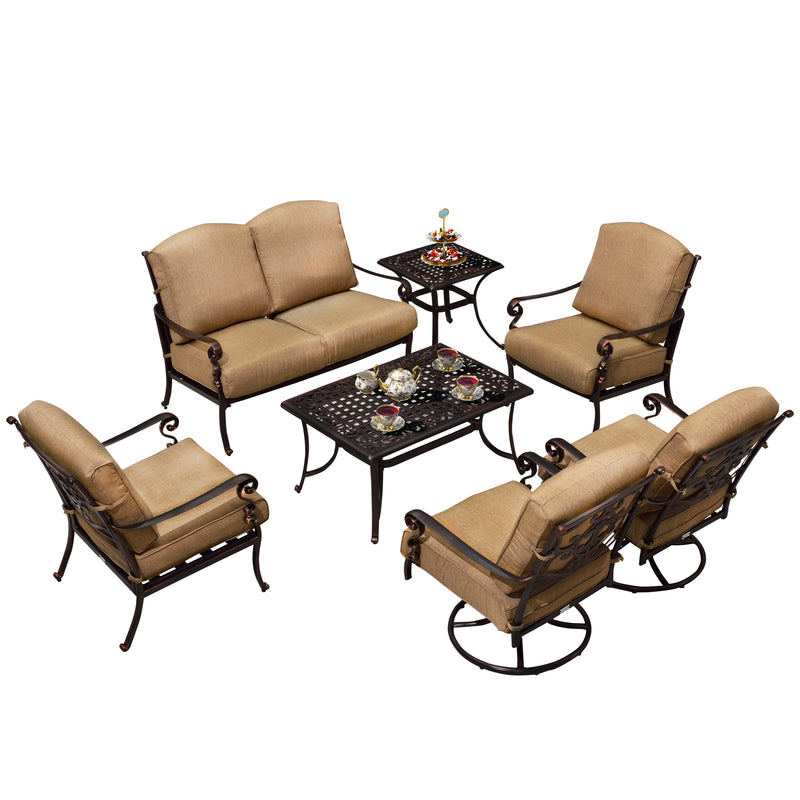 7 PCS Powder Coated Cast Aluminum Outdoor  Patio Conversation set, Swivel Single Sofas