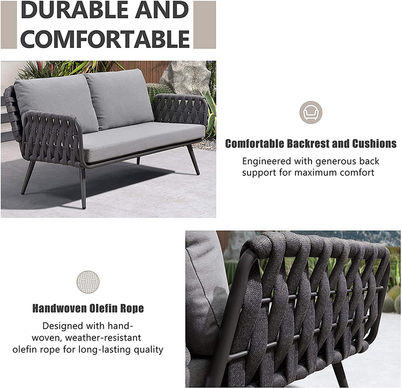 Multiple Style 4 Pieces Patio Conversation Set  Modern Deep Seating Sofa Set with Cushions
