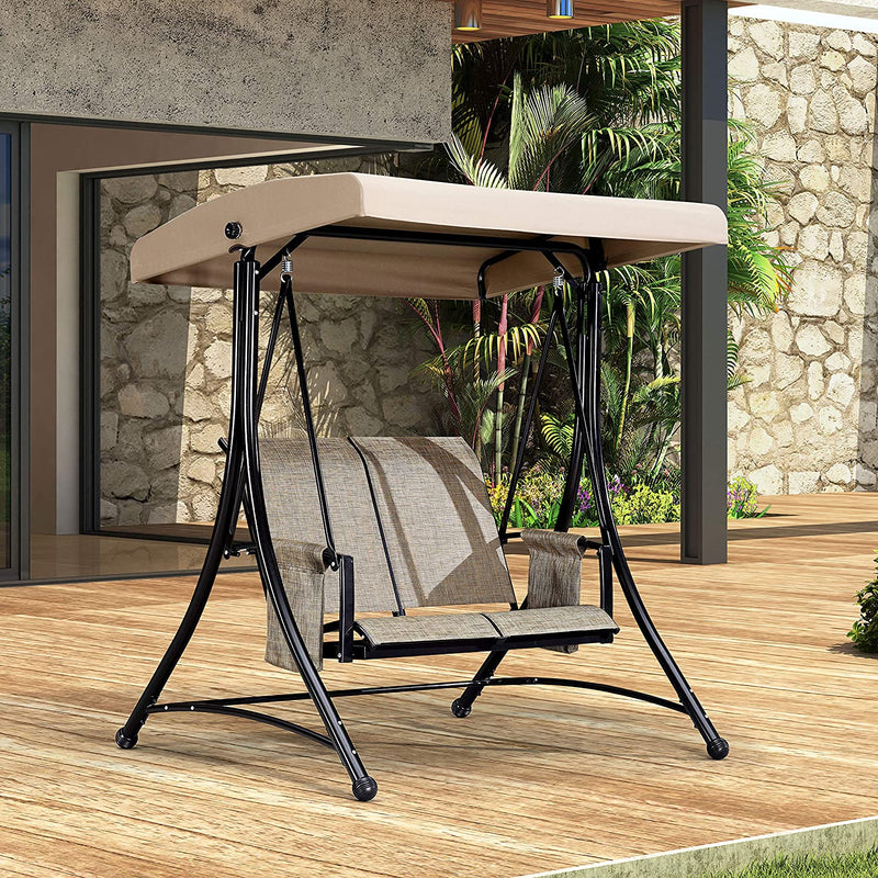 2-Seat & 3-Seat Deluxe Outdoor Patio Porch Swing with Steel Frame, Adjustable Tilt Canopy, Beige
