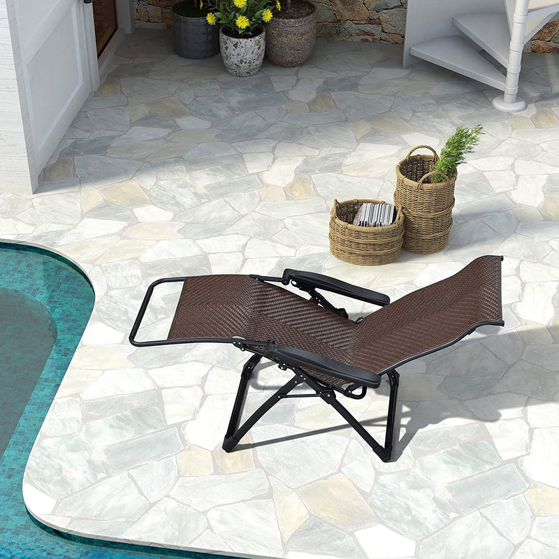 #Pre Order# Outdoor Zero Gravity Recliner Chair Patio Wicker Rattan Lounge Chair Outdoor Folding Pool Beach Camping Lawn Chair