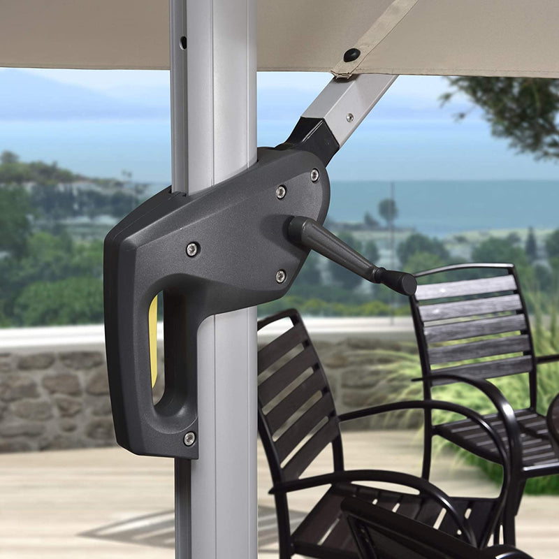 Solar Powered LED Square Cantilever Patio Umbrella Outdoor Umbrella Windproof Offset Umbrella
