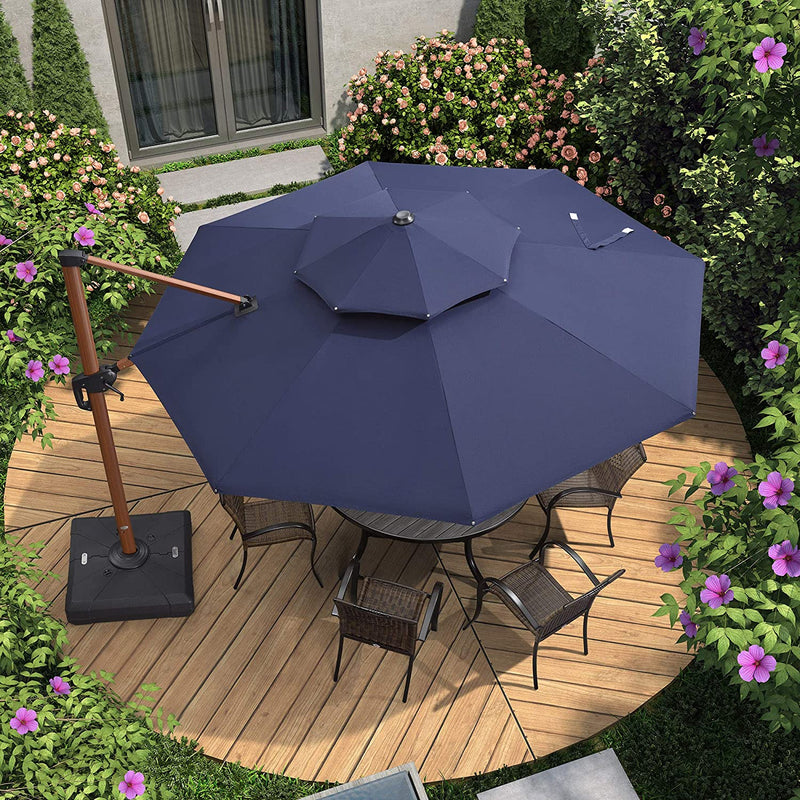 Wood Pattern Round Cantilever Patio Umbrella Outdoor Umbrella with 360 Degree Rotation